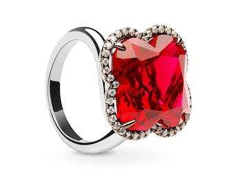 Sparkling Ruby Flower Ring