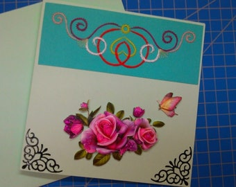 3D 446 hand made and embroidered greeting card