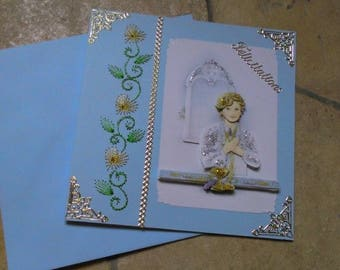 Card embroidered communion and 3D handmade 429