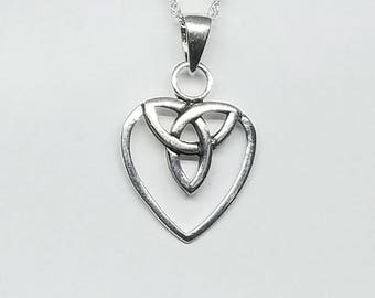 Heart Necklace~Silver Celtic Heart Necklace~Sterling Celtic Trinity Heart Pendant~Trinity Knot~Bridesmaid Wedding Jewelry~Gift for Her