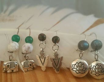 Handmade Earrings - Gemstone Accent Silver Plated Charm 304 Grade Stainless Steel