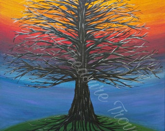 Branches and Roots- Original Acrylic Painting Art Print