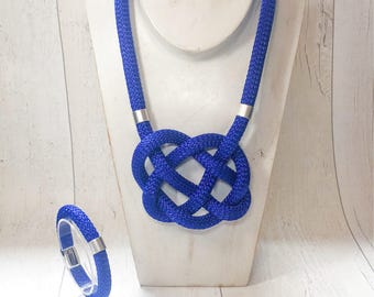 Celtic heart knot rope necklace