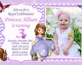 Sofia the First Invitation Birthday Sofia the First Party