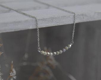 Tiny Grey Bead Necklace, Bridal Necklace, Silver Bead Necklace, Boho Wedding, Silver Boho Wedding, Silver Bridal Necklace, Gift for Wife