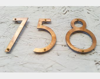 """Copper Patina Weathered Finish Mid Century Modern House Numbers 5"""""""