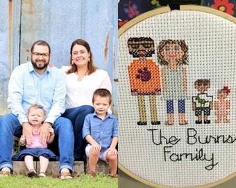 Cross Stitched Family, Cross Stitch, Wall Art