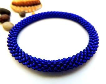 Silver Lined Dark Cobalt Roll On Bracelet- Blue Beaded bracelet - Seed Beads Bangle - Crochet Rope Bead Bracelet