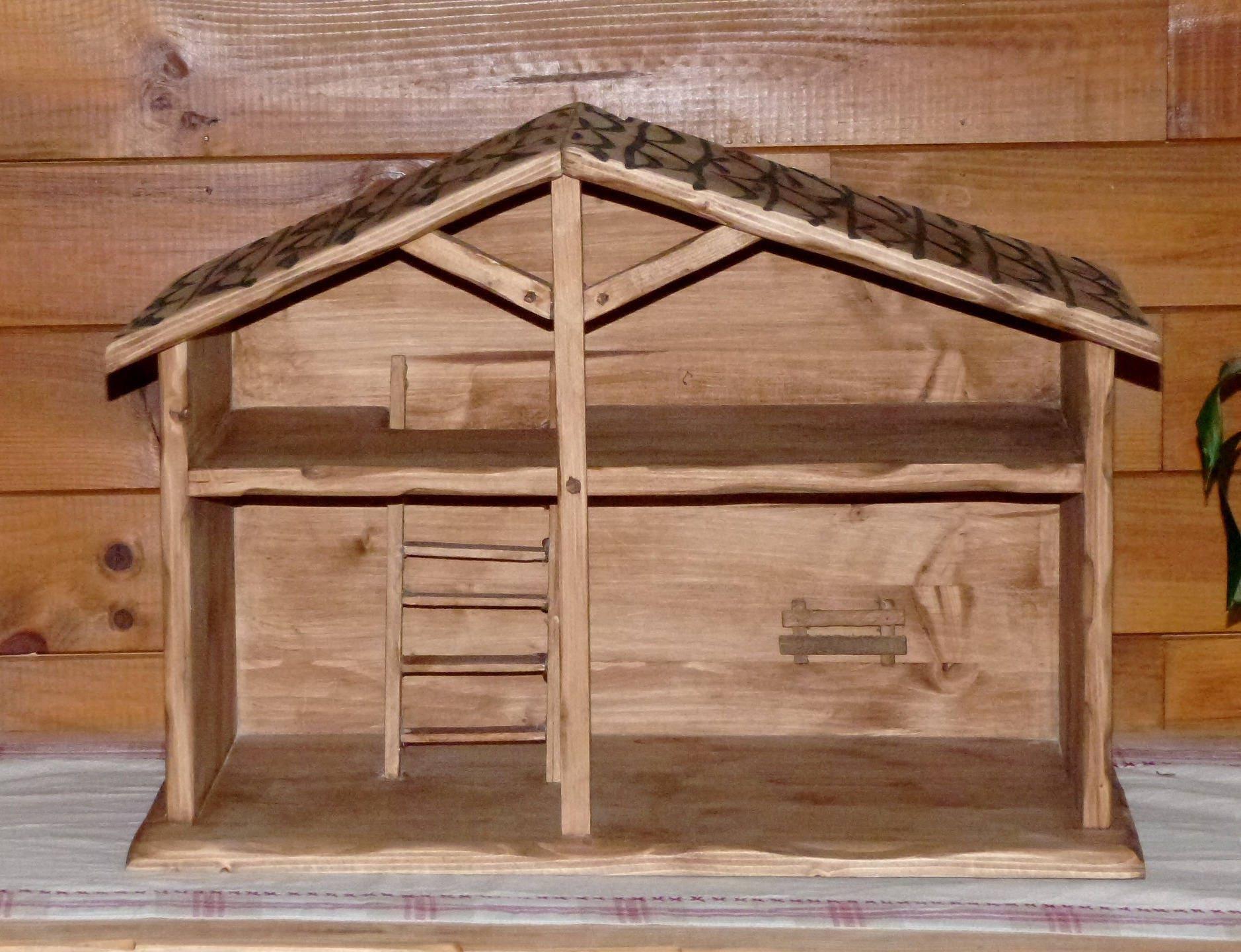 Cr che de noel artisanale en bois deco chalet montagne - Fabriquer une creche de noel en bois ...