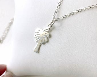 Necklace short Palm tree in 925 Silver Pendant