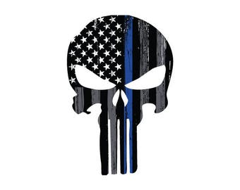 Thin Blue Line Punisher Skull Decal.  Vehicle Decal.  Law Enforcement Decal