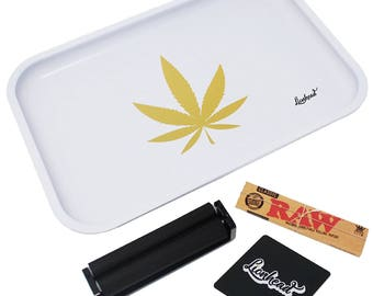 """Full Size Rolling Tray – 12"""" x 8"""" White Tray + 110mm Rolling Machine + King Size Raw Rolling Papers  + Loader – Lionhead"""