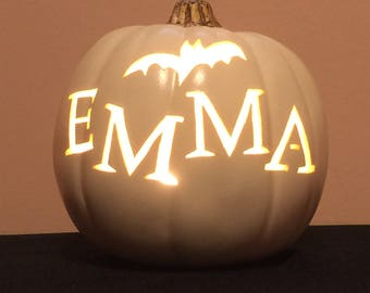 "EMMA 6.5"" soft white pumpkin with a bat"
