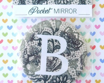 Beautiful Personalised Letter Pocket Mirror, Gift, Stocking Filler