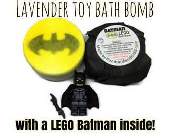 Batman Lego Kids Bath Bomb - Toy Lavender Essential Oil Bath Bomb Fizzie - Gotham Stocking Stuffer - Justice League - Dark Knight Favors