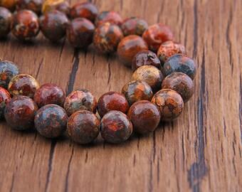 Leopard Skin Jasper Beads,Round Natural Stone Beads Exact Strands Shown Gemstone Beads 6mm/8mm/10mm/12mm genuine Beads 15 inch Strand