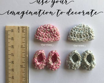 Crochet miniature baby booties and hat