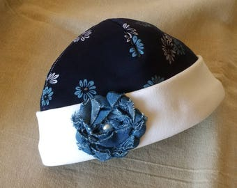 Baby Girl's Fleecy Winter Cap 6-12 Months Navy Blue & White Beanie Hat with Denim Flower