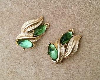 Vintage ART Co. signed green glass earrings