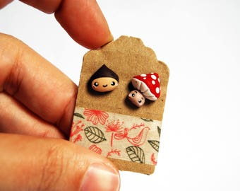 Studs chestnut and mushroom in fimo-Kawaii Collection Autumn