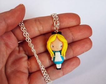 OUTLET! Sale! Alice in Wonderland necklace in fimo