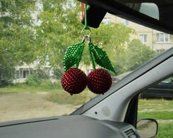 Travel gift Car accessories for women Rear view mirror charm Handmade cherry charm Fruit accessories car decor beaded car charm