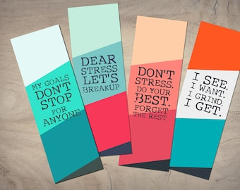 Motivational Bookmarks Template, Quote Bookmarks, Printable Bookmarks Set, Motivational Quotes, Digital Bookmark Template, Instant Download