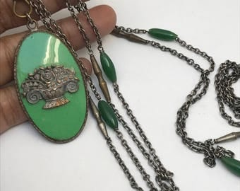 Art Deco Necklace . Watch Fob Chain . Costume  jewelry