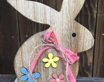 Wooden Bunny, Bunny Decor, Rustic Bunny, Rustic Decor, Rabbit Decor, Rustic Rabbit, Farmhouse Bunny, Spring Decor, Easter Decor Easter Bunny