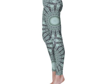 Nature Inspired Green Boho Yoga Pants, Forest Green and Mint Green Mandala Art Leggings, Printed Yoga Tights