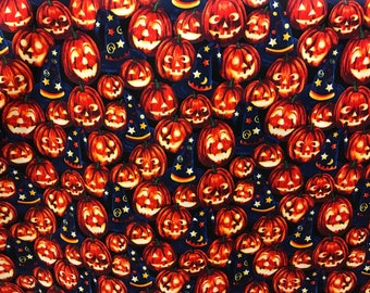 Pumpkin Jack o lantern & wizard hats Halloween fabric, pumpkin fabric, jack o lantern, Halloween night, wizard hat, magic