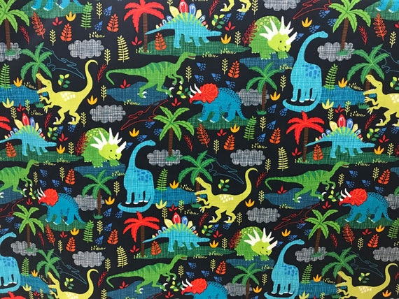 Dinosaur fabric dino fabric cotton fabric dinosaur for Dinosaur fabric