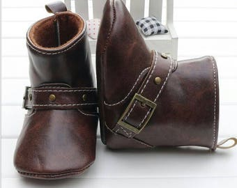 Brown Leather Baby Boots with side Buckle / Saddled-n-Sass