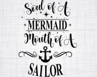 Original! Soul of a mermaid SVG; Cricut Cut File; Silhouette Cut File; Cameo Cut File;DXF file;SVG file; Mermaid; Shirt Decal; First on Etsy