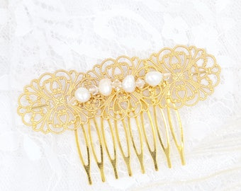 Bridal hair comb, Ariia, Rose Gold hair comb, Gold headpiece, Wedding headpiece, Boho headpiece, Swarovski crystal freshwater pearl
