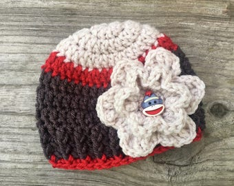 Crochet Sock Monkey Hat with Flower - Beanie - Child Hat - Girl Hat - Newborn - Handmade - Sock Monkey Button - Crochet Flower