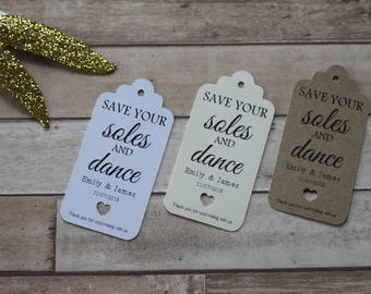Personalised Rustic Wedding Favour Tags- Save your soles and dance