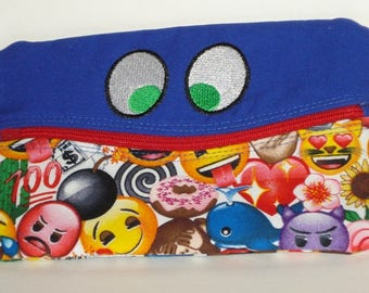 SMILING FUNNY EYES Pencil or Phone Case with emojis 100% cotton fabric with nylon zipper closure