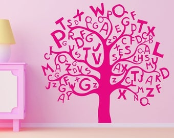 alphabet wand aufkleber etsy. Black Bedroom Furniture Sets. Home Design Ideas