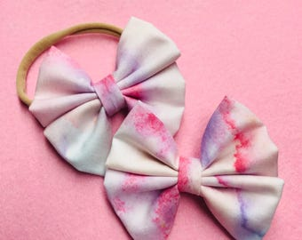Watercolor Bow Headbands and Bow Clip