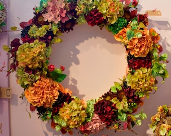 Winter Extra Large Handmade Faux Flower Wreath; Plum, Green & Gold Flowers. Home Decor. Hotel Decor. Luxury Gifts