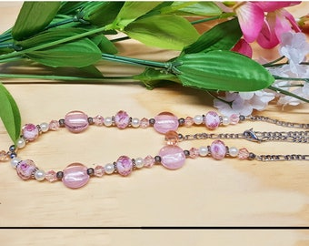 Pretty in Pink crystal beaded chain necklace