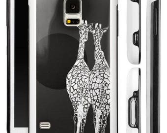 iPhone, Samsung Galaxy, protective cell case, image of two giraffes, image of giraffes walking in sun, giraffes cell case, beige