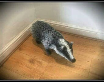 Handmade life size wire Badger.