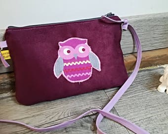 "Pocket Moon, my first ""OWL"" suede handbag / bag / pouch"