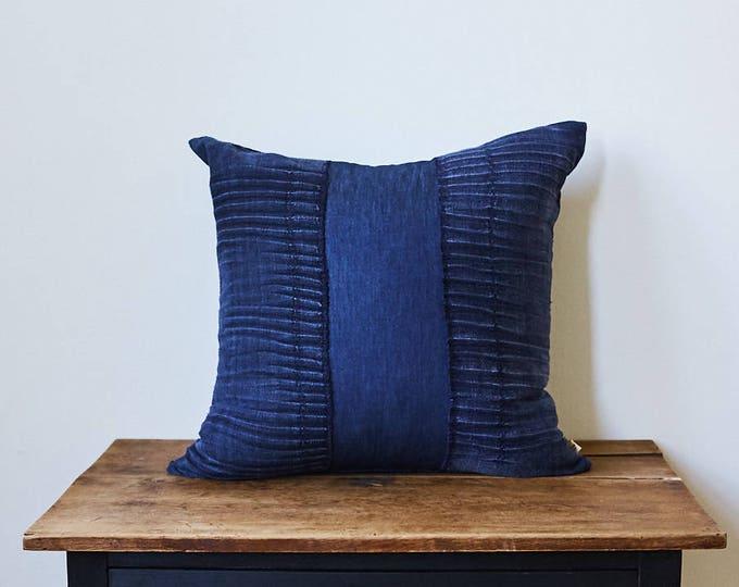 "Vintage Japanese indigo fabric pillow 20"" x 20"""