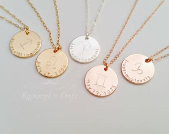 Custom Horoscope Necklace | Zodiac Necklace | Birthday Necklace | Constellation necklace | Best friend gift | Sister gift