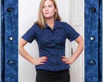 90s Fitted Blouse Womens Small Dark Blue Batik Fitted Shirt Short Sleeve Cotton Button Up Top Petite Batik Blouse Navy Fitted Top Size S