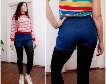 High Waisted Denim Shorts Womens Small Jean Mini Shorts High Waist 28 Indigo Blue Hotpants High Rise Denim Hot Pants S Rockabilly Shorts W28