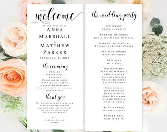 Wedding programs instant download Editable template Boho wedding program DIY wedding programs Elegant wedding programs Travel wedding theme